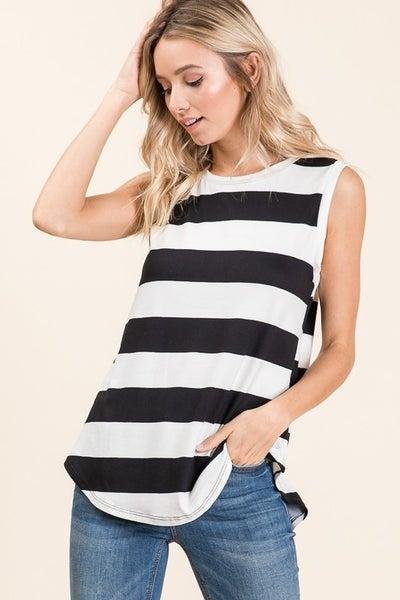 Sleeveless Basic Bold Black & White Stripe Top