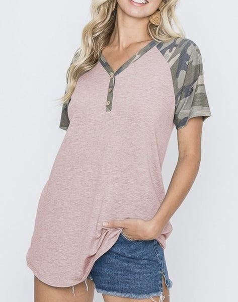 Camo/Dusty Pink tshirt with buttons