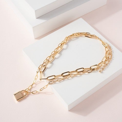 Gold Lock Charm Chain Linked Layered Necklace
