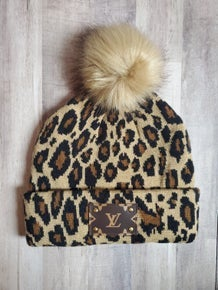 Leopard LV Beanie with Fur Pom