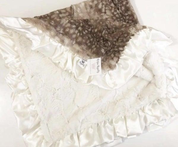 Fawn Ruffled Baby Blanket