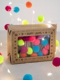 Pompom LED Fairy Happy LIghts 9ft.