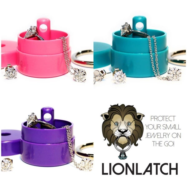 Lion Latch Jewelry Tote Pill Box Keychain Container Jewelry Box Case Storage