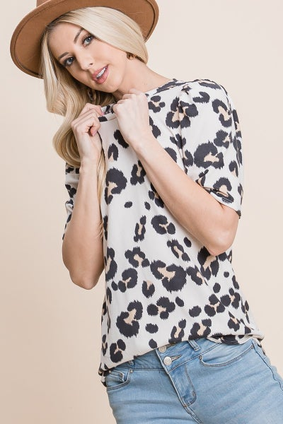 Ivory Animal Print Balloon Short Sleeve Top-Available S-3X
