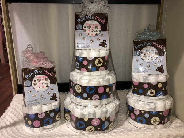 Diaper Cake with Poo Pee Mask by Dalmatian Cows