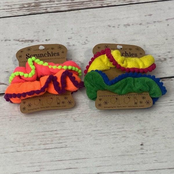 Natural Life Terry Pom Pom Scrunchie Set of 2