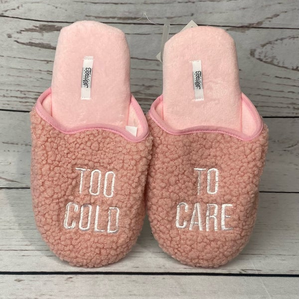 Pink Too Cold To Care Slippers
