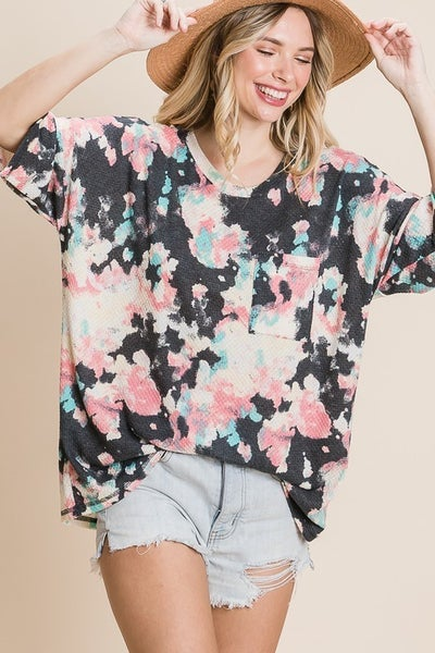 Oversized Floral Print Waffle Knit Top