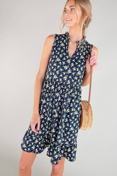 Ruffled detail floral print sleeveless tiered dress