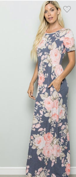 Navy & Pink Floral Maxi Dress with Pockets Plus Size
