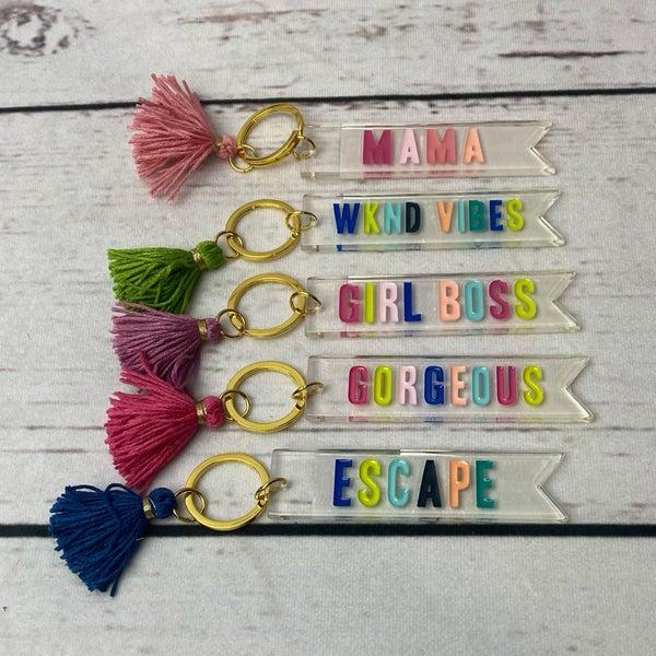 Acrylic Key Chain Tag with Tassel