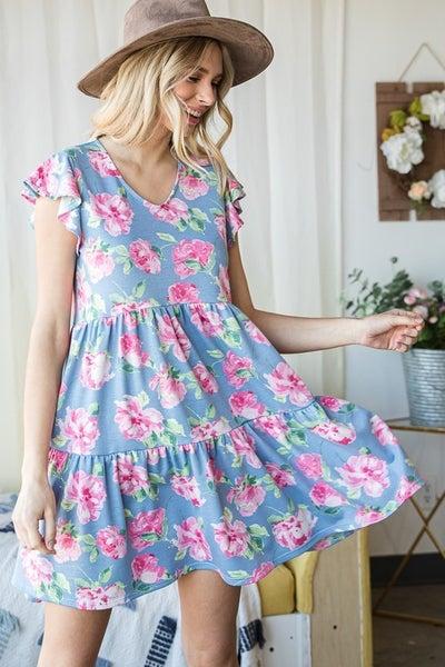 Flutter Sleeve Floral Baby Doll Dress