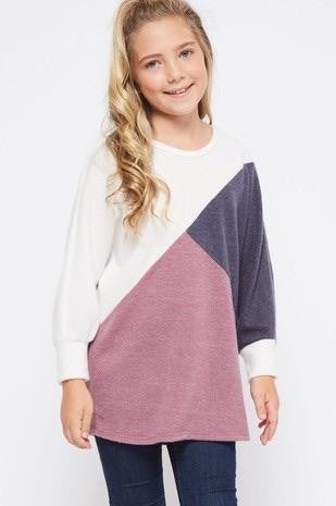 Kids Long Sleeve Mauve Color Tunic Top