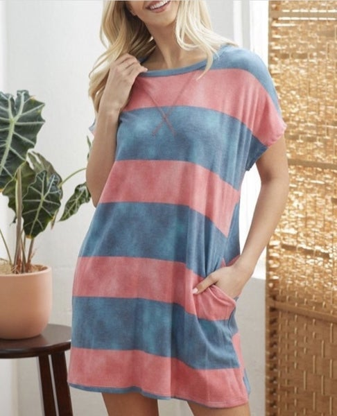 Blue and Pink Stripe Dress with Pockets