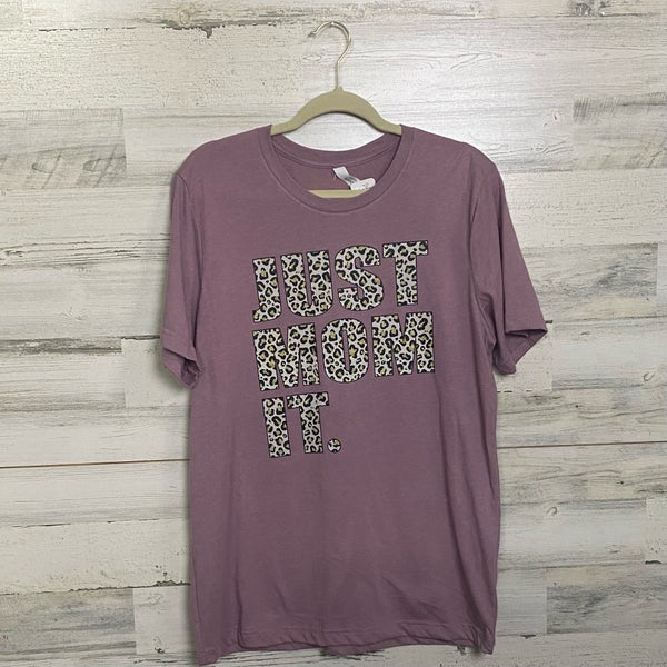 Just Mom It Leopard Writing on Heather Mauve T-shirt