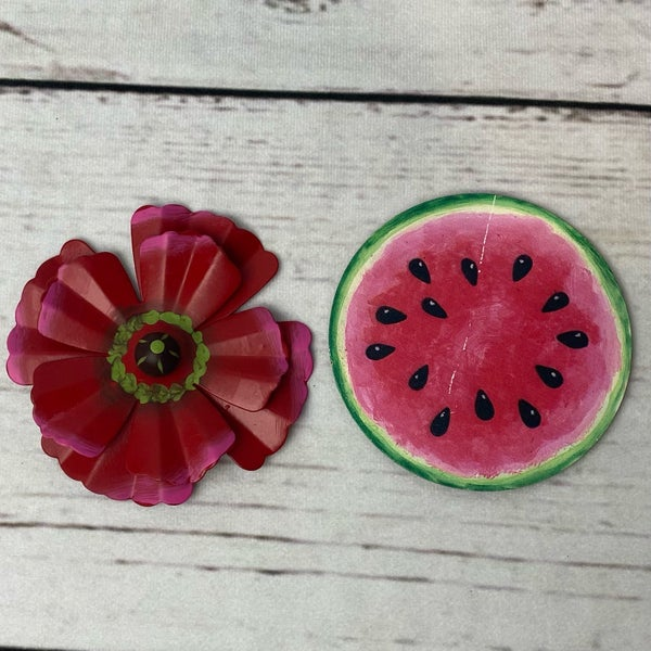 Round Top Charm Magnet Watermelon or Pink Flower