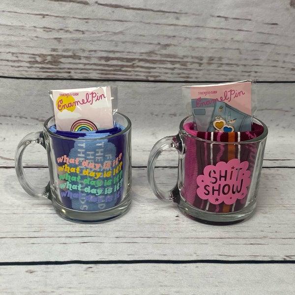 Clear Glass Mug with Socks & Enamel Pin Gift Set