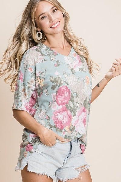 Mint Floral Print Tunic