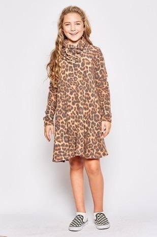 Kids Long Sleeve Cheetah Dress