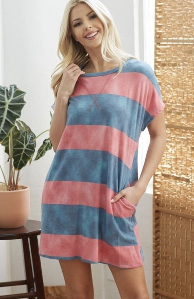 Pink and Blue French Terry Stripe Dress