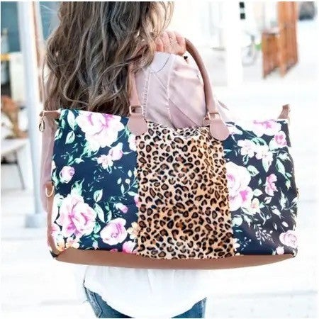 Floral Weekender Bag- Striped or Cheetah