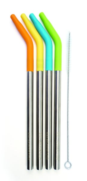 Silicone Tip Straws with cleaning brush-Set of 4