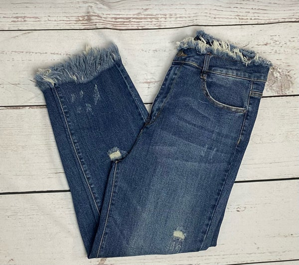 Risen Denim Frayed Jeans Light Distress