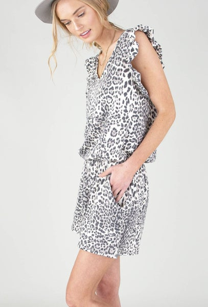 Grey & White Leopard Print Romper with Pockets