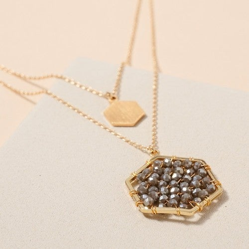 Gold Glass Beaded Hexagon Charm Layered Necklace 3 colors available