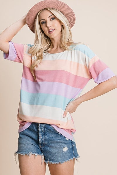 Short Sleeve Round Neck Multi Colored Stripe Knit Top {S-3X}