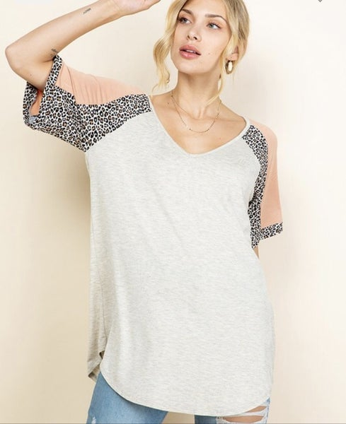 Blush, Tan and Leopard printed color block short sleeve top {S-3X}