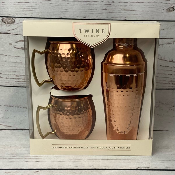 Hammered Copper Mule Mug & Cocktail Shaker Set