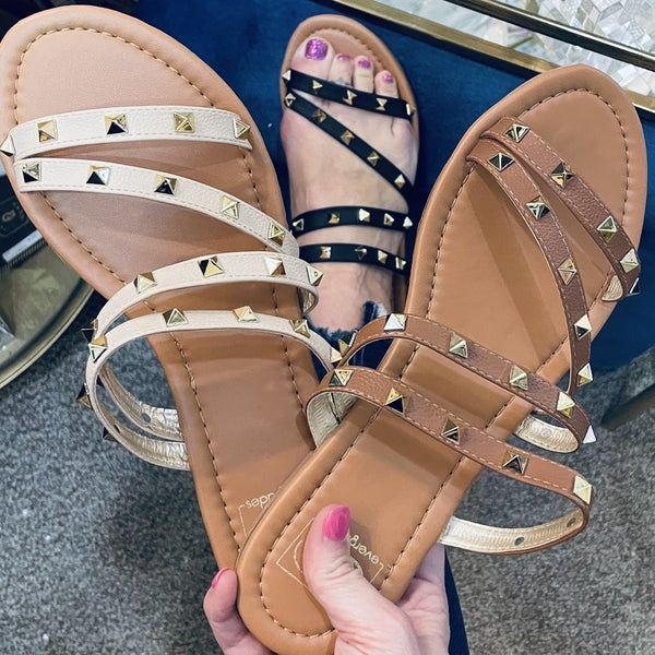 Strappy Slide On Sandal with Gold Pyramid Studs~ 3 Color Options