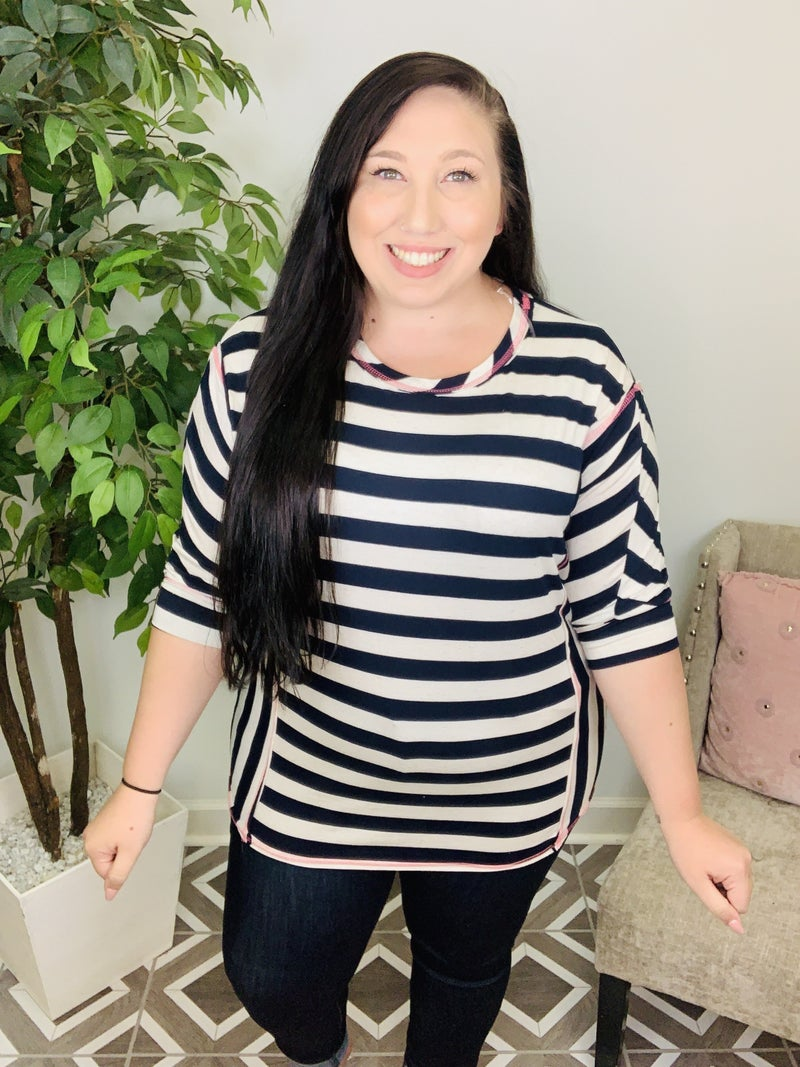 Let's Start Again Striped Top