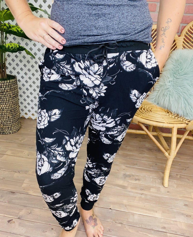 Seek Me In The Darkness Floral Joggers