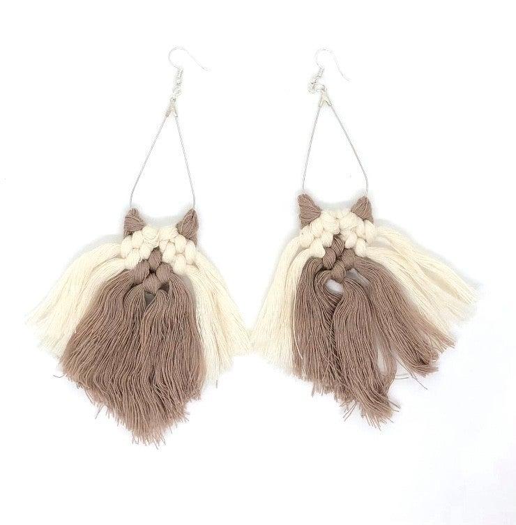 Two-Tone Macrame Earrings