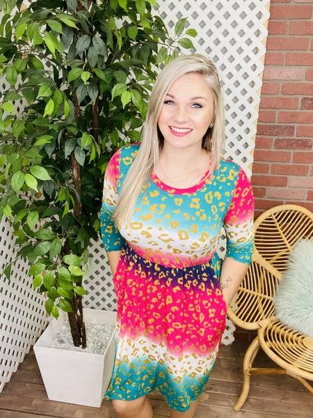 Spot Me On An Adventure Multi-Leopard Dress