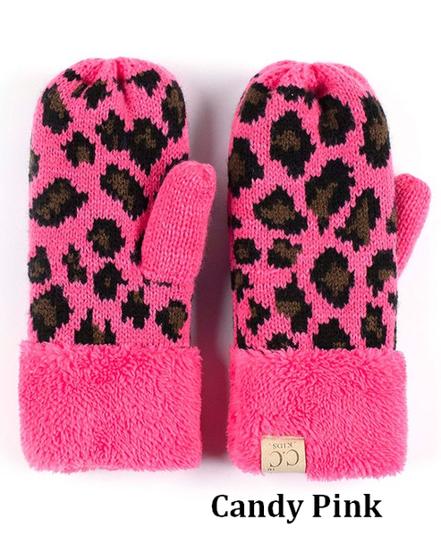 CC Knitted Leopard Kids Mittens