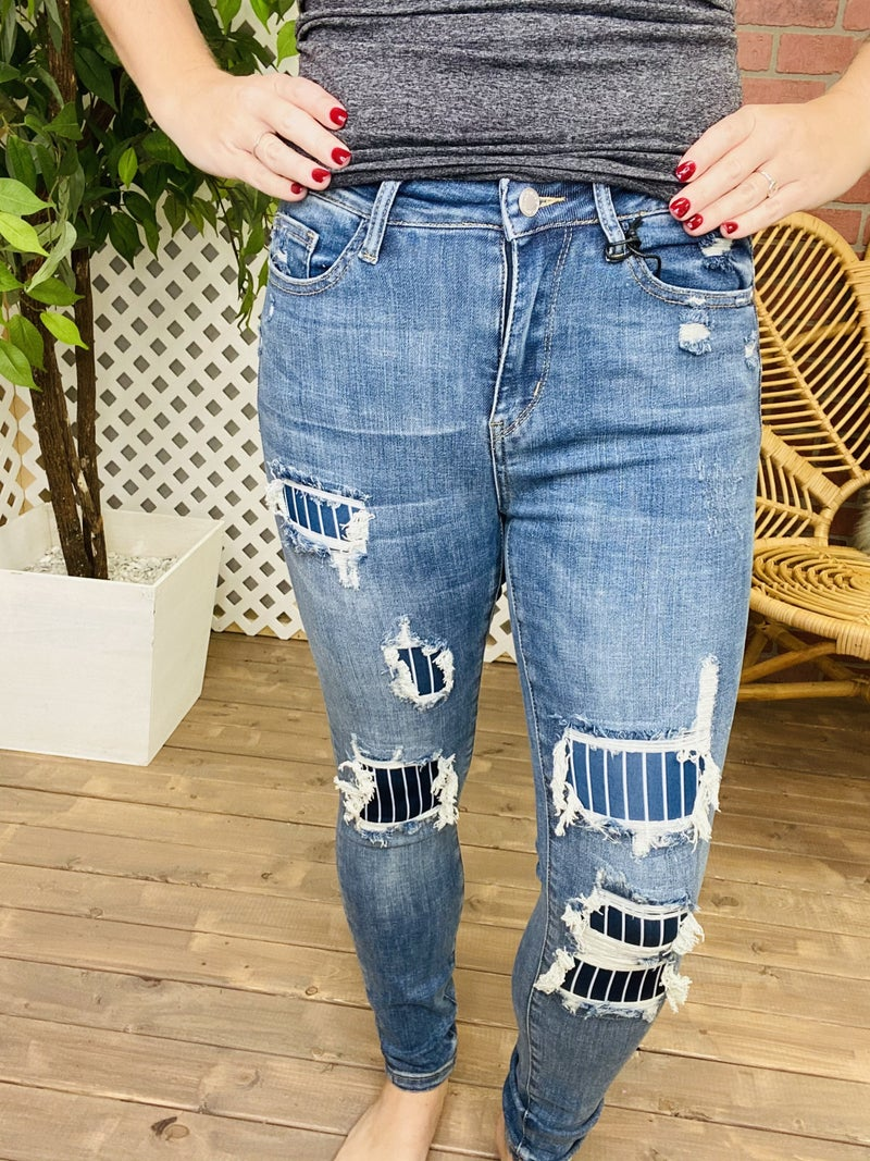"""Judy Blue """"Down The Line"""" Pinstripe Jeans"""