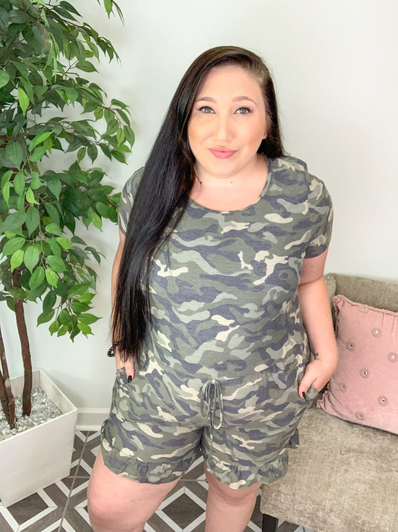 Find An Adventure Camo Romper