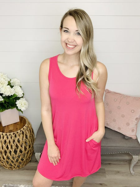 At The Thought Solid Sleeveless Dress