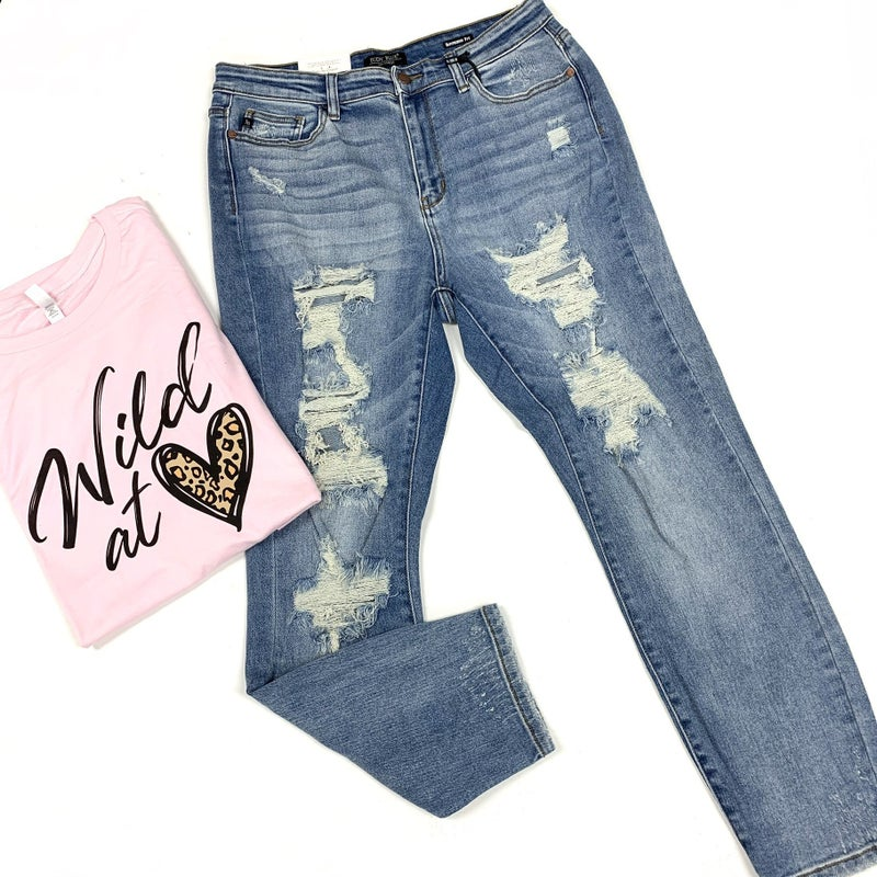 """Judy Blue """"Not Your Boyfriends"""" Distressed Jeans"""