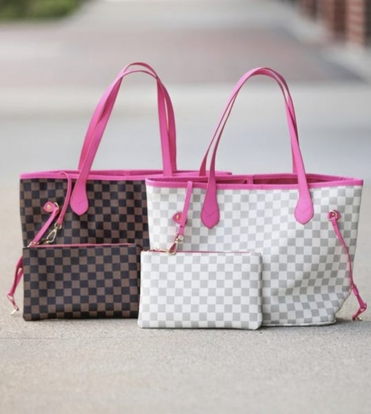 Grab and Go Checkered Tote