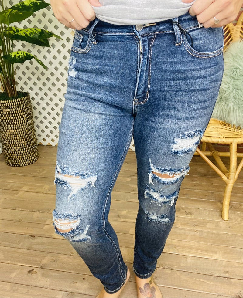 "Judy Blue ""Watch You Go"" Distressed Boyfriend Jeans"