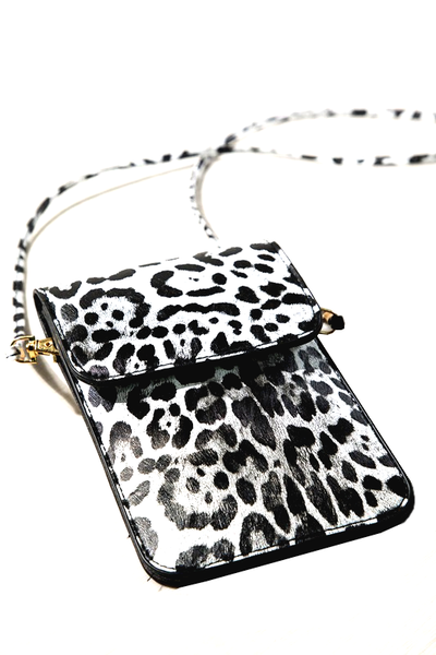 Snow Leopard Cell Phone Crossbody