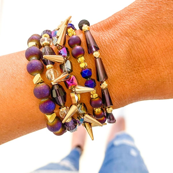 Orchid Purple Bracelet Stack