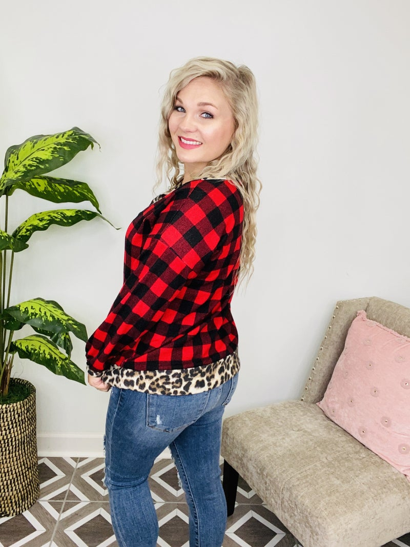 Express Yourself Leopard Plaid Top
