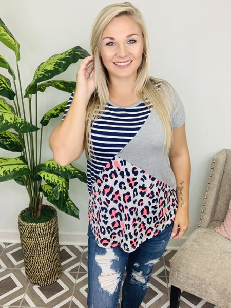 Call To You Striped Leopard Top