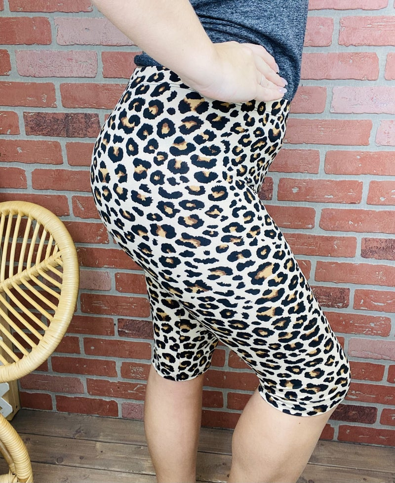 She's A Wild One Leopard Biker Shorts