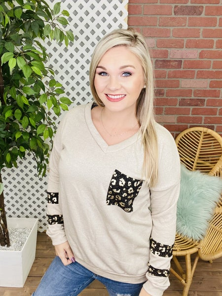 Shine Through The Night Leopard Accented Top